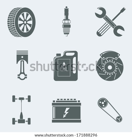 Vector illustration of icons on a theme of mechanics - stock vector