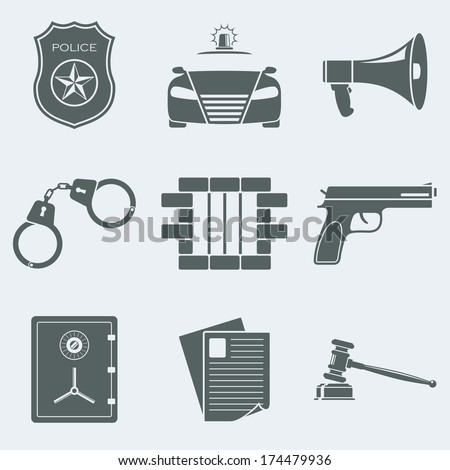 Vector illustration of icons on a theme of police - stock vector