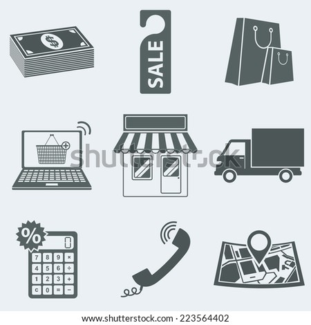 Vector illustration of icons on a theme of trade - stock vector