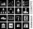 Vector illustration of icons on finance - stock photo