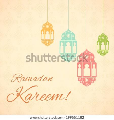 vector illustration of illuminated lamp for Ramadan Kareem ( Greetings for Ramadan) background - stock vector
