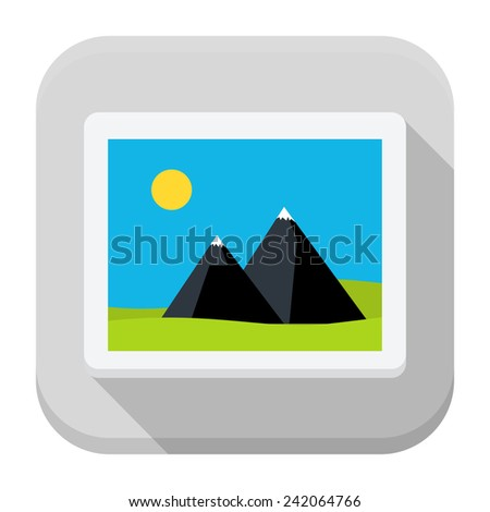 Vector illustration of image. Flat app square icon with long shadow.