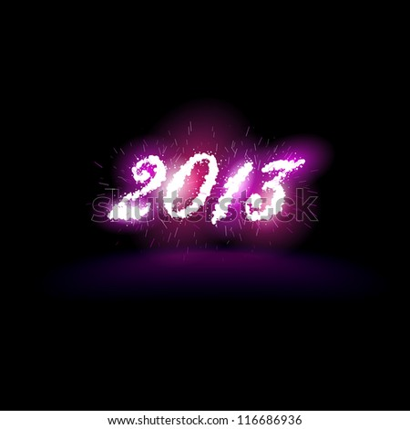 Vector illustration of 2013 in fireworks and sparks - stock vector