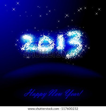 Vector illustration of 2013 in sparkles over blue - stock vector