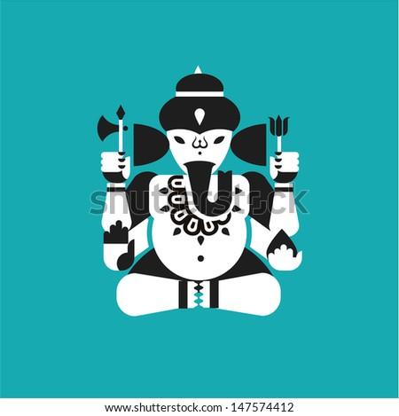 Vector illustration of Indian elephant god Ganesha - stock vector