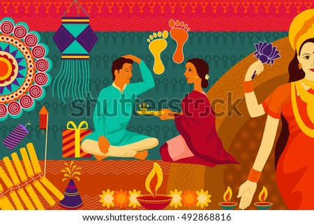 vector illustration of Indian family celebrating Bhai Dooj during Happy Diwali festival background kitsch art India