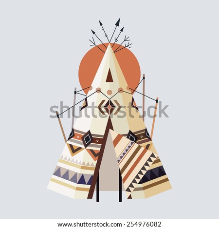 Vector illustration of Indian house Tepees (also known as Wigwam) - stock vector