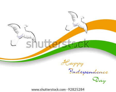 Vector illustration of Indian tricolor flag with flying pigeon on white isolated background for Republic Day and Independence Day. - stock vector