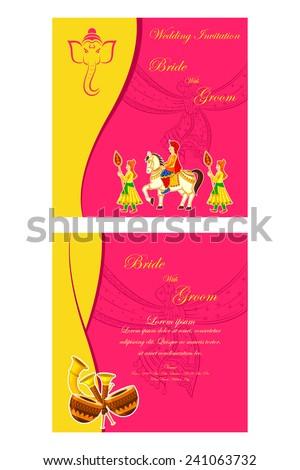 vector illustration of Indian wedding invitation card - stock vector