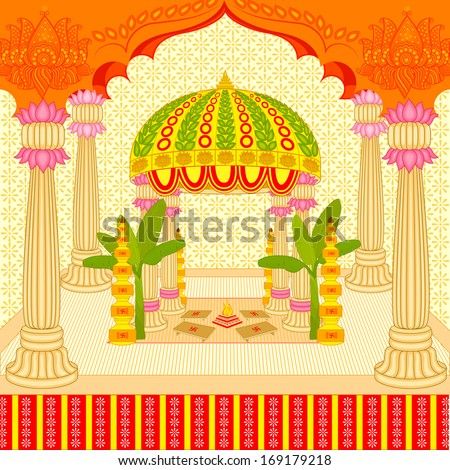 Vector illustration indian wedding mandap stage stock vector vector illustration indian wedding mandap stage stock vector 169179218 shutterstock junglespirit Images