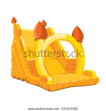 Vector illustration of inflatable castle for playground. Pictures isolate on white background - stock vector