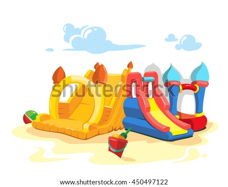 Vector illustration of inflatable castles and children hills on playground. - stock vector