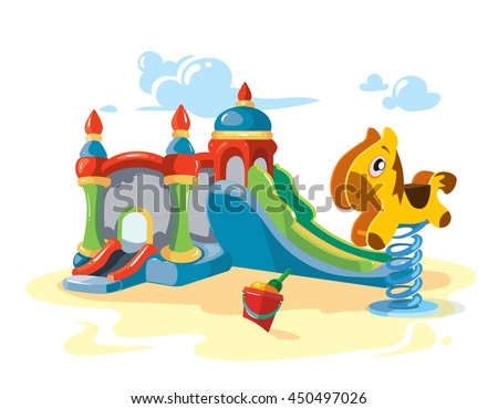 Vector illustration of inflatable children hills and rocking litle horse on playground. Picture isolate on white background - stock vector