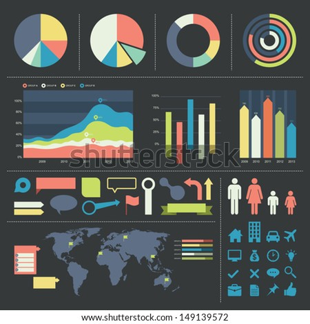 Vector illustration of infographic elements and icons. - stock vector