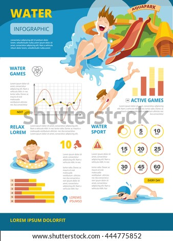 Vector illustration of infographics about water games. symbols and charts. Design project with place for your text - stock vector