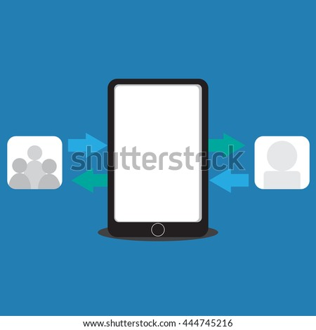 vector illustration of information exchange from people to social