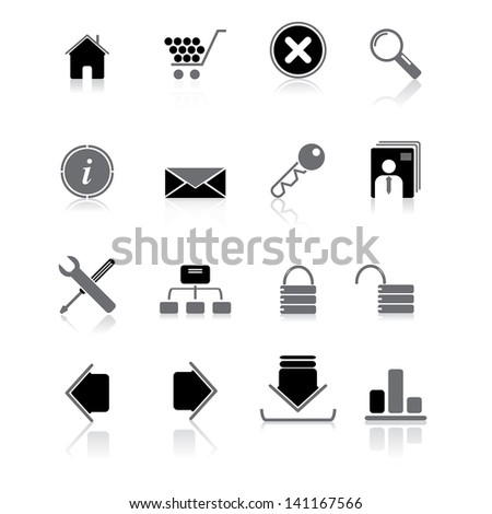 Vector illustration of internet and business icons.