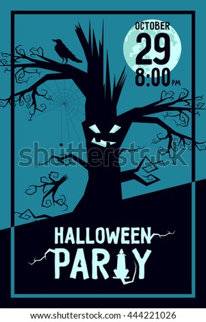 Vector illustration of invitation such print poster or web card for Halloween party