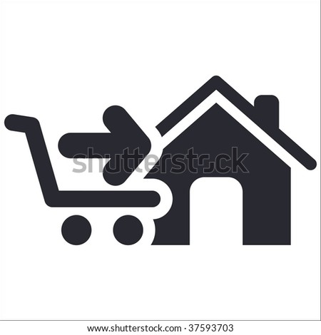 Vector illustration of isolated black and white store icon - stock vector