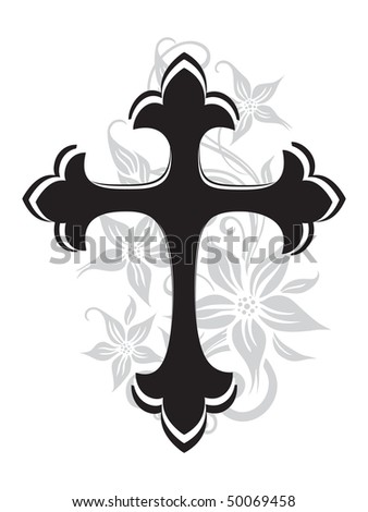 vector illustration of isolated black cross with blossom pattern - stock vector