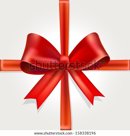 Vector Illustration of Isolated Red Gift Bow with Ribbon