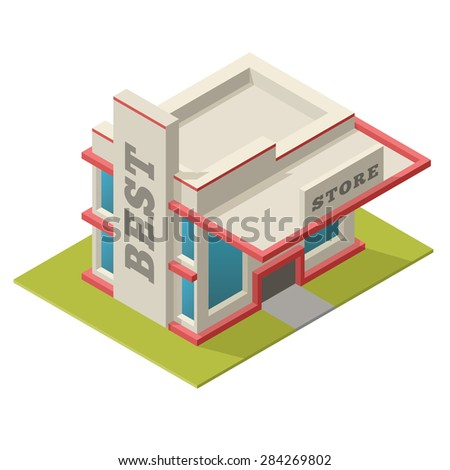 Vector illustration of isometric best store building. Placed on separated island. Easy to edit, clear and simple. - stock vector