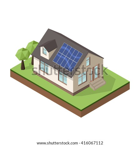 Vector illustration of isometric private cottage or house with solar roof panels for real estate brochures or web icon. - stock vector