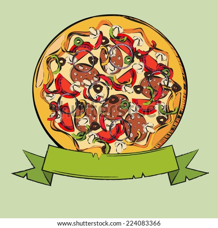 Vector illustration of italian pizza. Hand drawn - stock vector