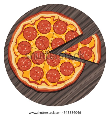 vector illustration of italian pizza with a slice on wooden board - stock vector