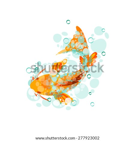 Vector Illustration Of Japanese Koi Gold Fish Can Be Used For Poster Banner