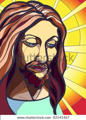 Vector illustration of Jesus Christ in stained glass. - stock vector