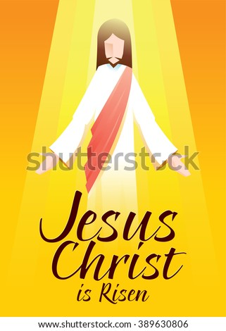 Vector illustration of Jesus Christ is risen in orange background with typography art - stock vector