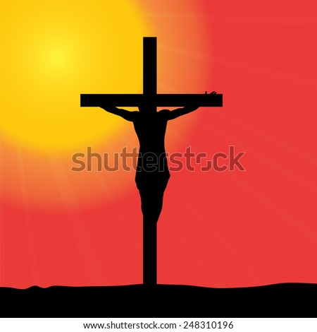 Vector illustration of Jesus on the cross. - stock vector