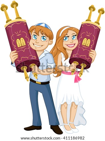 Vector illustration of Jewish boy and girl holding the Torah for Bar and Bat Mitzvah. - stock vector