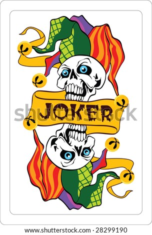 Vector illustration of jokers on a playing card - stock vector
