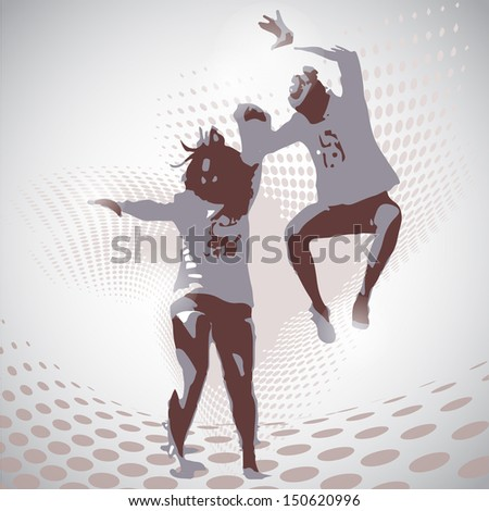 Vector Illustration of jumping boy and girl - stock vector