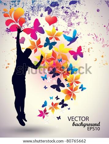 Vector illustration of jumping man.Concept - stock vector