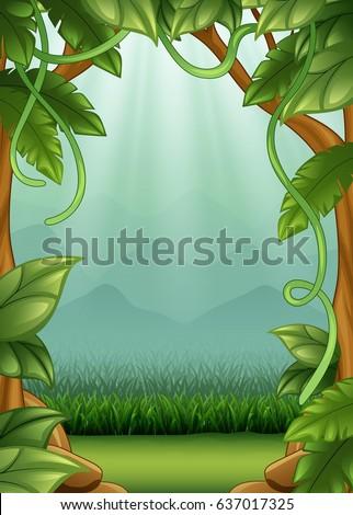 Vector Illustration Jungle Background Vines Mountains ...