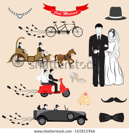 vector illustration of Just Married design set - stock vector