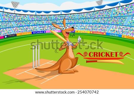 vector illustration of kangaroo playing cricket - stock vector