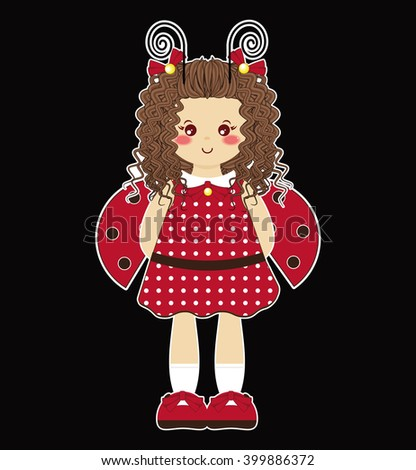 Vector Illustration of kawaii forest girl with ladybug wings. Simple idea for kids Halloween outfit. Flat cartoon element for design - stock vector