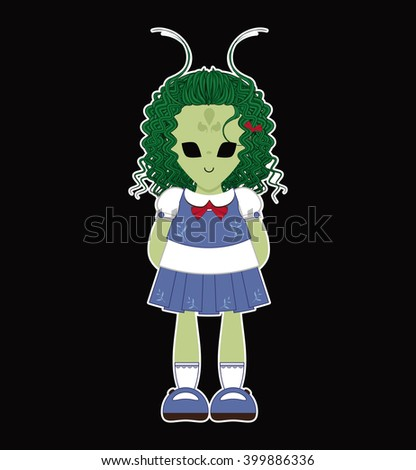 Vector Illustration of kawaii monster alien girl with big black eyes and green skin. Simple idea for kids Halloween outfit. Flat cartoon element for design - stock vector