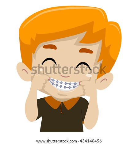 Vector Illustration of Kid Boy showing his Braces - stock vector