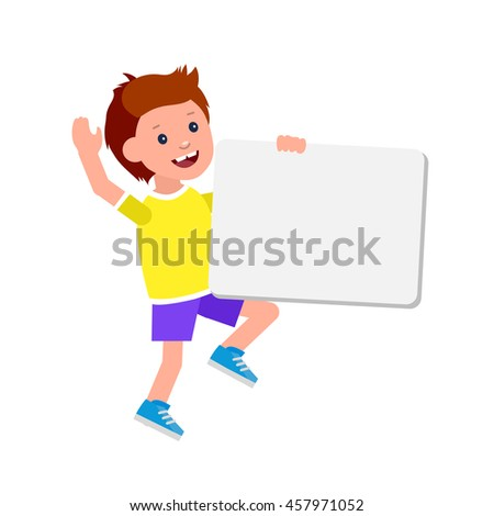 vector illustration of kid boy standing behind placard. Cheerful child holding white poster - stock vector