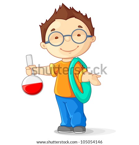 vector illustration of kid holding laboratory flask - stock vector