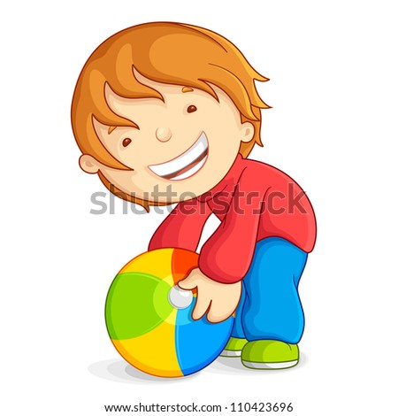 vector illustration of kid playing with beach ball - stock vector
