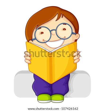 vector illustration of kid reading open book - stock vector