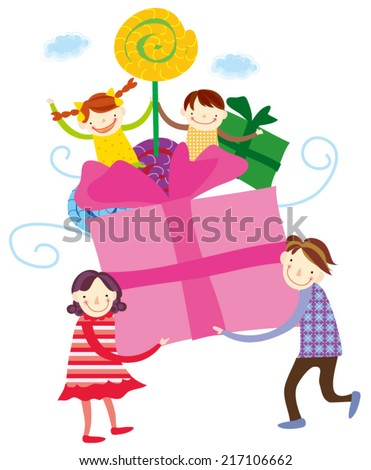 vector illustration of kids celebrating Birthday with gift and parent - stock vector
