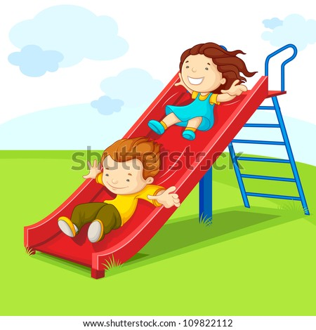 vector illustration of kids enjoying on slide - stock vector