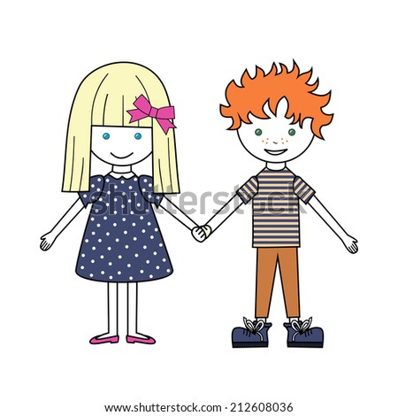 vector Illustration of Kids Holding Hands isolated on white background - stock vector